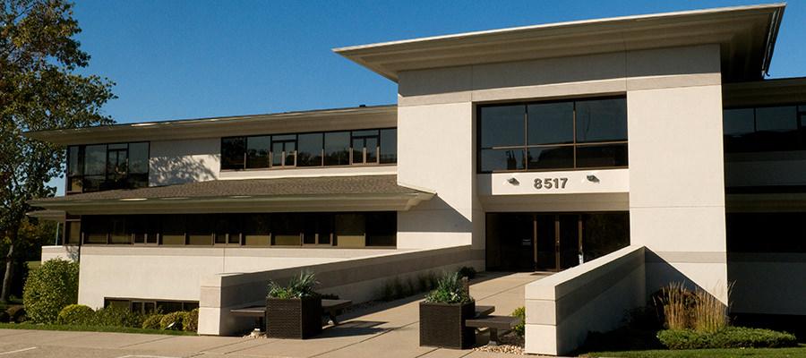 Exterior modern concrete office building
